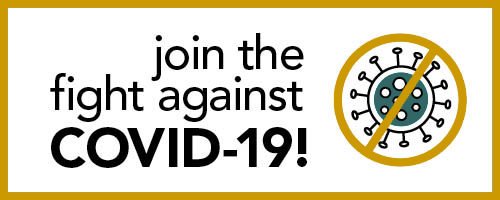 Join the fight against covid graphic showing virus with a circle and cross bar over it